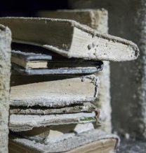 "Mahsa Aleph, ""Aleph's Library"" (Detail), installation at Pasio, 1000 cured books, iron, wood, overall size: 250 x 250 x 900 cm, 2017"