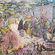 "Behrang Samadzadegan, ""Seizure"", from ""Heading Utopia"" series, watercolor on cotton paper, 148 x 215 cm, 2018"